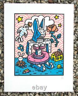 Speedy Graphito, Original Lithography Gaga Girl Rabbit, Street Art