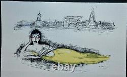 Stunning Lithography By Kees Van Dongen Mermaid, Looks At Paris