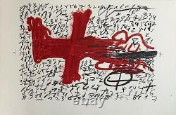 Tapies Original Lithography Signed On Velin Art Abstract Abstraction Spain