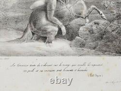 Theodore Gericault. Mazeppa. 1823. Original Lithography