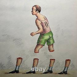 Topor Roland Lithography Original Portrait Sportsman Surrealism Painting