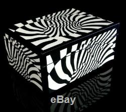 Zebras Vasarely Op Lacquered Wood Box 70 Kinetic Art Design Optical Lithography
