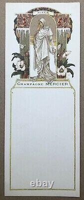 4 Litho Menus Art Nouveau Elisabeth Sonrel Champagne Mercier 4 Saisons vers 1900