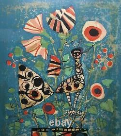 AIZPIRI Paul Lithographie Nature Morte Vase Fleurs Oiseau Peinture Signée Numéro