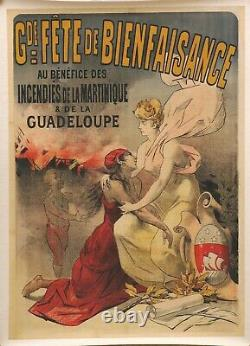 Affiche début 20ème Martinique Guadeloupe Montagne Pelée Saint Pierre