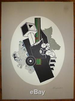 Alain Le Yaouanc lithographie signée numérotée 1970 art abstrait abstraction