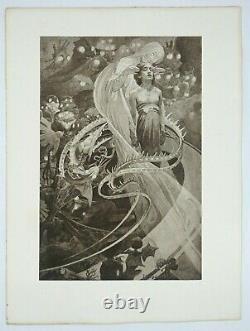 Alphonse Mucha, Le Pater, Lithographie originale en noir et blanc, 1899