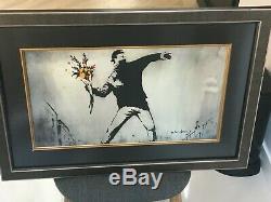 Banksy 2 lithographie originale lanceur de fleur et lanceur de livre signé