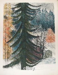 Bardone Guy Lithographie signée numérotée paysage neige les sapins la montagne
