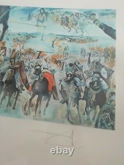 Belle Lithographie Salvador Dali La Bataille De Tetouan Signée Au Crayon