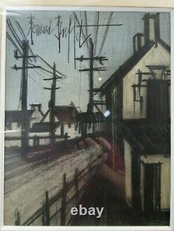 Bernard Buffet Village Lithographie Originale Encadree Inox Dim. 30 X 23 CM