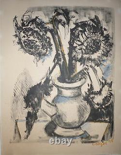 Bernard LORJOU Lithographie rehaussée au crayon signée Numérotée les tournesols