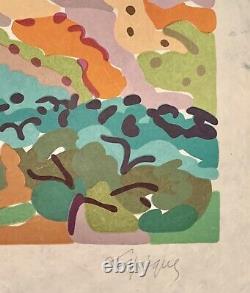 CHARLES LAPICQUE, Paysage, lithographie couleurs sur Japon nacré. E. A. Signée