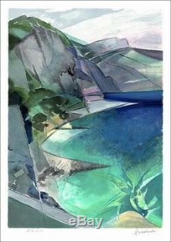 Camille HILAIRE Lithographie Originale Signée au crayon, Côte Azur, Èze