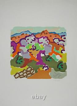 Charles LAPICQUE Estampe originale Lithographie Paysage en Argolide