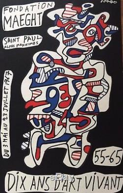 Dubuffet Jean Affiche Originale Pour La Fondation Maeght Litho Arte 1967