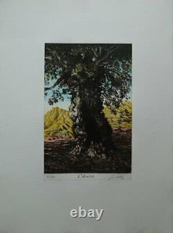 Fernand DIAZ L'Olivier GRAVURE originale signée au crayon #130ex
