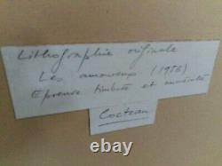 French Lithographie signée etiquette manuscrite, Jean Cocteau les amoureux