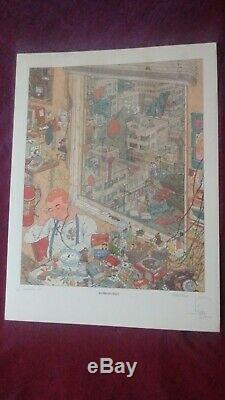 Geof darrow, litho H. C. Signée dessin original, Angoulême 1987 + city of fire