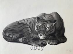 Georges Lucien GUYOT LITHOGRAPHIE Tigre Panthère Tiger Lion Esprit Paul Jouve