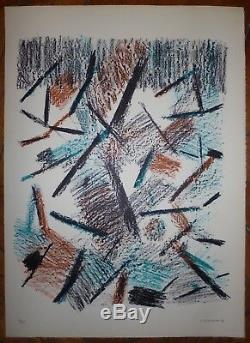 Germain Jacques lithographie originale signée 1969 art abstrait abstract Bauhaus