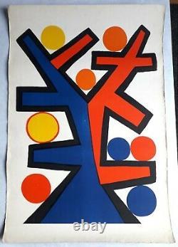 Grande lithographie de Alexander Calder, épreuve sur vélin non signée