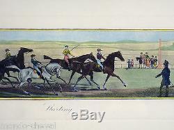 Gravure équestre, litho, J. Pollard, chevaux, course hippique, cavaliers, jockeys