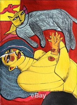 Guillaume CORNEILLE Femme et chat gris, Aquagravure originale Signée/Num
