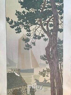 HENRI RIVIERE gravure lithographie bretonne bretagne marine 1900 La Brume
