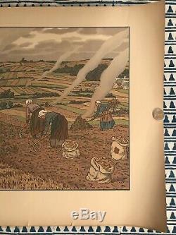 HENRI RIVIERE gravure lithographie bretonne bretagne marine 1900 Les Champs