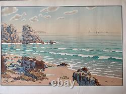 HENRI RIVIERE gravure lithographie bretonne bretagne marine 1900 Vague La Plage