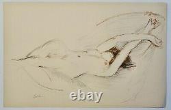 Helleu Paul-cesar(1859-1927)-lithographie Originale-nu Endormi-signe-circa 1900