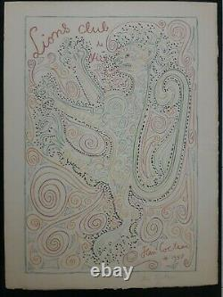 Jean Cocteau Lions Nice 58 Lithographie Mourlot 150ex. Arches Côte d'Azur Menton