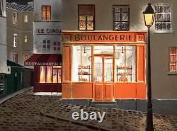 Jean-Luc LECOINDRE Lithographie Originale Signée, Art naïf, La boulangerie
