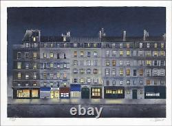 Jean-Luc LECOINDRE Lithographie Originale Signée, Art naïf, Rue Saint Benoit