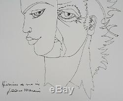 Jean MARAIS Quand les masques tombent Lithographie Originale Signée