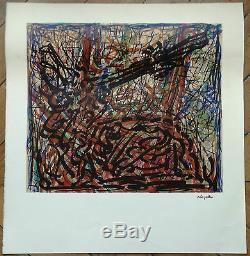 Jean Paul Riopelle lithographie originale estampe signée dans planche abstrait