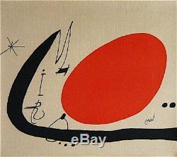 Joan Miro Lithographie originale sur toile signée 1970 art abstrait surréalisme