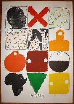 Joe Tilson Lithographie signée Abstract art abstrait contre l'apartheid Pop Art