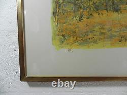 LITHOGRAPHIE COMMERE YVES JEAN 59X78 paysage arbres encadrée numerotée et signée
