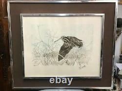 Lamotte Gabriel Bécasse thème chasse lithographie gravure signée