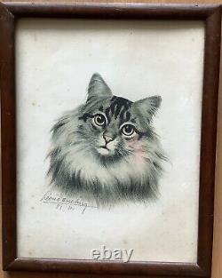 Lithographie Portrait Par Lartiste Léon Danchin Chat Animaux début XIXe