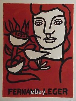 Lithographie d'après Fernand Léger + poème d'André Verdet au dos p 906