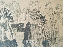 Lithographie orig Charles Cottet Bretonnes sur le quai Bretagne Revue Blanche 94