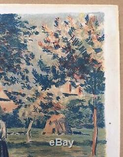Lithographie originale Jardin Camille Pissarro Eragny Maximilien Luce 1858-1941