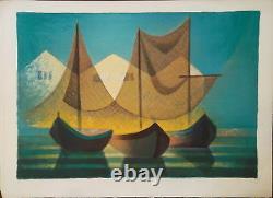 Louis TOFFOLI (1907-1999) Lithographie signée, Bateaux dans un port P1646