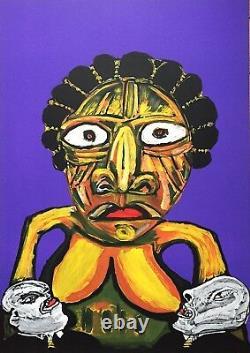 Lucebert Lithographie signée Abstraction art abstrait contre l'apartheid