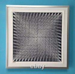 Lucile Keeler Roebuck Lithographie encadrée Signée 1965 op art Yvaral Vasarely