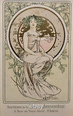 MUCHA Alfons Lithographie Feuille dOr Portrait Femme Art Nouveau Estampe 1900
