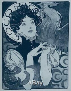 MUCHA Alphonse 1898 LITHOGRAPHIE La Femme au Coq